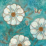 Blue Posies II Print by Nan
