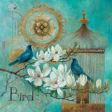 Blue Birds and Magnolia Posters by Elaine Vollherbst-Lane