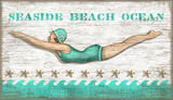 Diving Girl Vintage Wood Sign