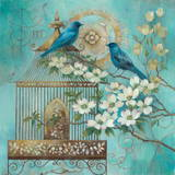 Blue Birds and Dogwood Prints by Elaine Vollherbst-Lane