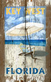 Beach Umbrella Vintage Wood Sign