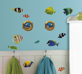 Fish Wall Decals with Lenticular Port Hole Peel & Stick Wall Decals Wall Decal