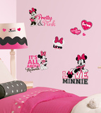 Mickey & Friends - Minnie Loves Pink Peel & Stick Wall Decals Autocollant
