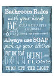 Bathroom Rules Blue Kunst van Taylor Greene