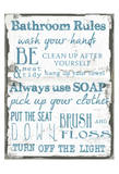 Bathroom Rules White Prints by Taylor Greene