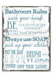 Regole della stanza da bagno, bianco, in inglese Stampe di Taylor Greene