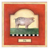 Barnyard 2 Pig Art by Linda Grayson