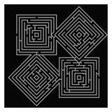 Quad Labyrinth On Black Affiche par Taylor Greene