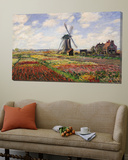 Tulip Fields with the Rijnsburg Windmill, 1886 Plakater av Claude Monet