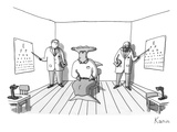 A hammerhead shark gets his eyesight check by two eye doctors in either co… - New Yorker Cartoon Premium Giclee Print by Zachary Kanin
