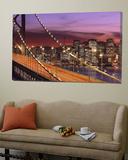 Bay Bridge Illuminated at Night, San Francisco, California, USA Plakat