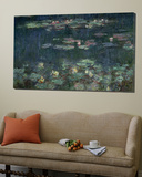 Waterlilies: Green Reflections, 1914-18 (Right Section) Poster by Claude Monet