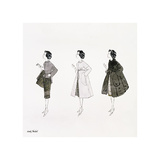 Three Female Fashion Figures, c. 1959 Giclée-tryk af Andy Warhol