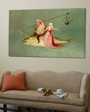 Le Tentazioni di Sant'Antonio, pannello destro, particolare di una coppia a cavallo di un pesce Poster di Hieronymus Bosch