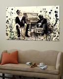 Tom Waits, zittend bij piano met ander persoon Poster van Lora Zombie
