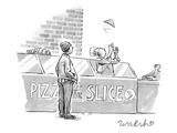 A pizza maker tosses a single slice in the air near the register. A custom… - New Yorker Cartoon Premium Giclee Print by Liam Walsh