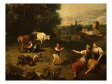 Pastorale, Landscape with Milkmaid and Cows, C. 1750-60, Detail Giclee Print by Francesco Zuccarelli