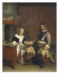 Soldier Suitor or Young Woman Offered Silver, C.1660-63 Giclee Print by Gerard ter Borch
