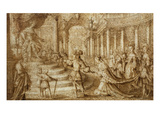 Meeting of the Queen of Sheba and King Solomon, Pencil Drawing; Exhibition from the Legendary… Giclee Print by Claude Deruet