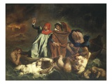 Dante's Boat or Dante and Virgil Ferried by Plegias to Hell from Divine Comedy C.1822 Giclee Print by Eugene Delacroix