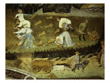August or Virgo, Detail of Cornfield with Harvesting and Baling of Wheat to Take to Granary Giclee Print by  Venceslao