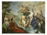 Goddess Diana and Nymphs and Actaeon Torn to Pieces by His Hounds or Dogs Giclée-tryk af Giovanni Battista Pittoni