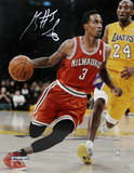 Brandon Jennings Drives Passed Kobe Bryant Signed Fotografía