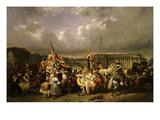 Carnaval Place De La Concorde (Carnival in Place De La Concorde, Paris, France), Exhibited 1845 Giclee Print by Ernest Seigneurgens