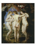 The Three Graces, Charities or Goddesses of Beauty, 1636-8, 221X181Cm Giclee Print by Sir Peter Paul Rubens