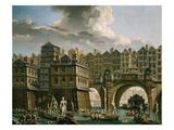 La Joute Des Mariniers, Entre Le Pont Notre-Dame Et Le Pont Au Change Giclee Print by Nicolas Raguenet