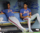 Dwight Gooden  Sitting In Mets Dugout With Darryl Strawberry Photo
