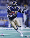 Marshall Faulk Rams Rushing Head On Blue Jersey Vertical w/ &quot;HOF 20XI&quot; Insc. Photo