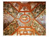 Pergola with Vine, Winged Cupid and Birds, Painted Vault, Renaissance Fresco, C.1595 Giclée-tryk af Italian School