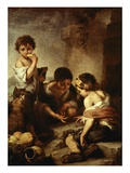 Young Beggars Playing Dice Giclee Print by Bartolome Esteban Murillo