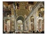 Interior, Saint Peter's Basilica, Rome, Italy Giclee Print by Antonio Pannini