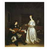 The Duet, Singer and Theorbo Lute Player, 1669 Giclee Print by Gerard ter Borch