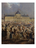 Ecole Militaire with Crowds, Festival of the Supreme Being (Fete De L'Etre Supreme) Giclee Print by Pierre Antoine Demachy