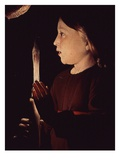 Christ Holding Candle, from Saint Joseph Charpentier (Saint Joseph the Carpenter) (Detail) Giclee Print by Georges de La Tour