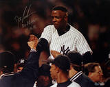 Doc Gooden Yankee No Hitter Carry Off Horizontal w/ &quot;No Hitter 5-14-96&quot; Insc. Photographie