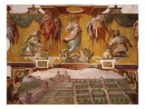 Villa Medici, Rome, Italy, Garden Side; Above, Allegory of Summer, Fresco, 1576-77 Giclee Print by Jacopo Zucchi