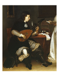 The Duet, Singer and Theorbo Lute Player, 1669, Detail Giclee Print by Gerard ter Borch