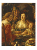 The King Drinks, Family Meal on the Day of the Celebration of Kings, C.1640, Detail Giclee Print by Jacob Jordaens