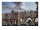 Sailors Jousting, Between the Pont Notre Dame and the Pont-Au-Change, Paris, 1756 Giclee Print by Nicolas Raguenet