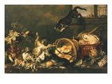 Cats Fighting in Pantry Giclee Print by Paul De Vos