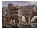 Sailors Jousting, Between the Pont Notre Dame and the Pont-Au-Change, Paris, 1756 Premium Giclee Print by Nicolas Raguenet