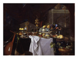Fruits and Rich Dishes on a Table, 1640 Lámina giclée por Jan Davidsz. de Heem