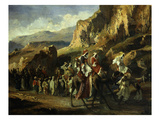 Caravane Dans Les Monts D'Atlas (Caravan in the Atlas Mountains, Morocco) Giclee Print by Jean-Joseph Bellel