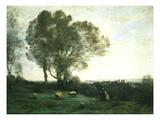 Pastoral Scene Gicléedruk van Jean-Baptiste-Camille Corot