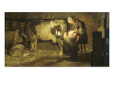 The Two Mothers, Cow with Calf and Sleeping Mother with Baby, 19th Century Giclee Print by Giovanni Segantini