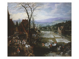 Market Scene and Washing Field in Flanders, C. 1620 Giclee Print by Joos de Momper